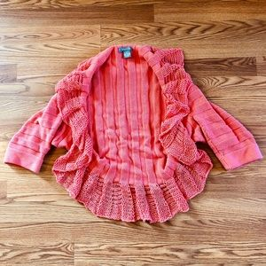 Coral Cocoon Cropped Sleeve Cardigan